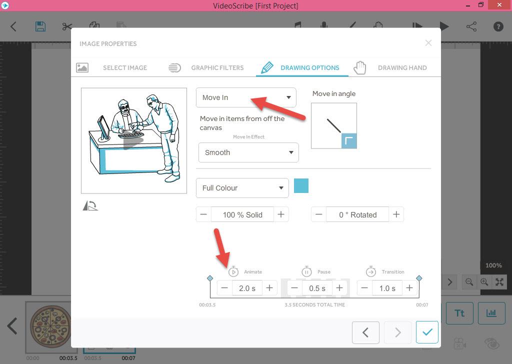 تنظیمات مورد نظر شامل افکت طراحی و زمان انیمیشن - آموزش انیمیشن VideoScribe