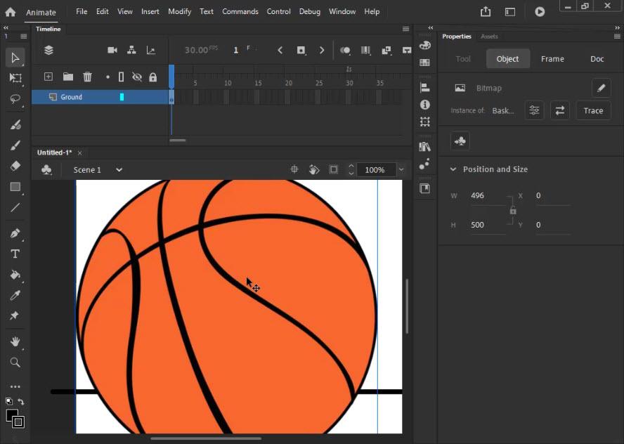 وارد کردن توپ بسکتبال به برنامه ادوب انیمیت