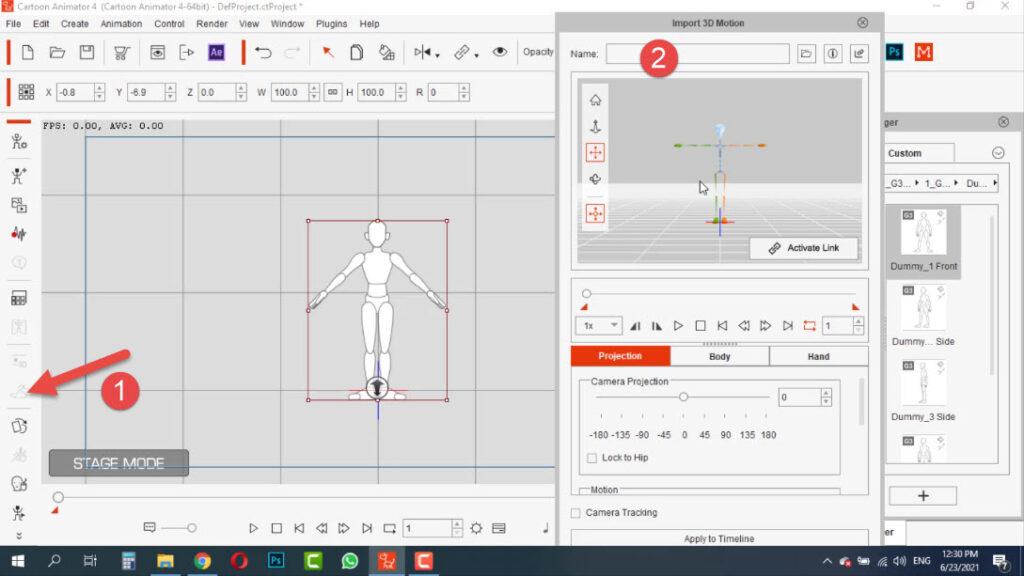 باز کردن پنجره Import 3D Motion