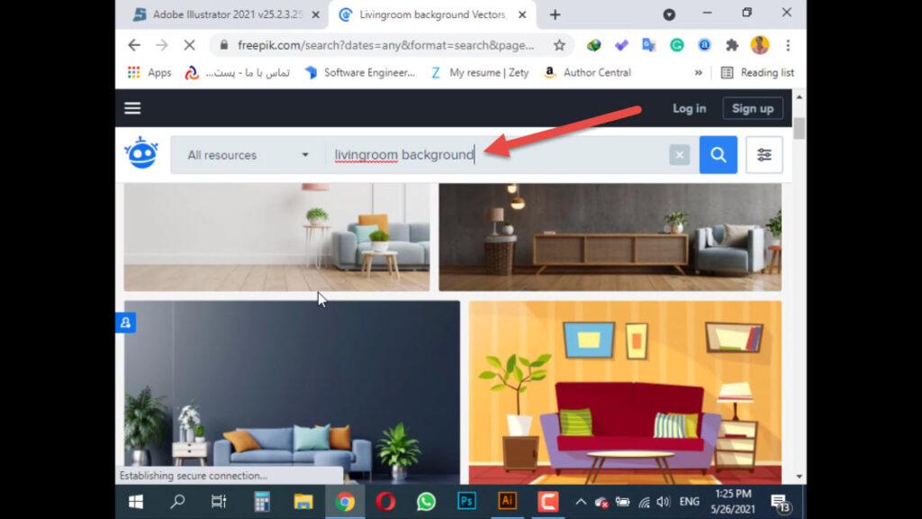 وارد کردن متن Living room background در قسمت جستجو