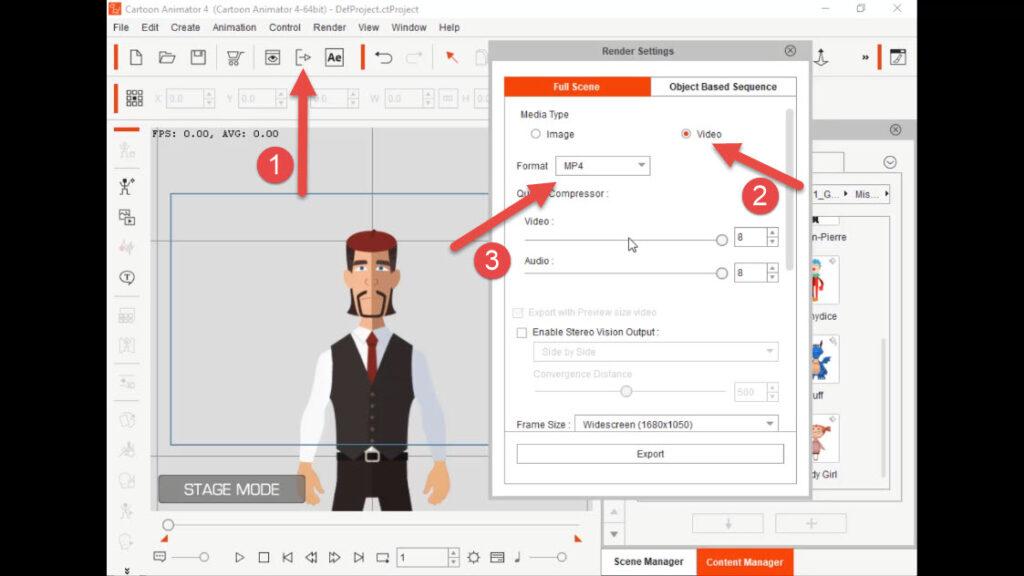 تنظیمات خروجی گرفتن از برنامه کارتون انیماتور