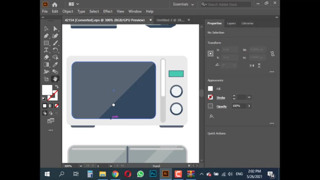 وارد کردن تصویر ماکروویو به برنامه Illustrator