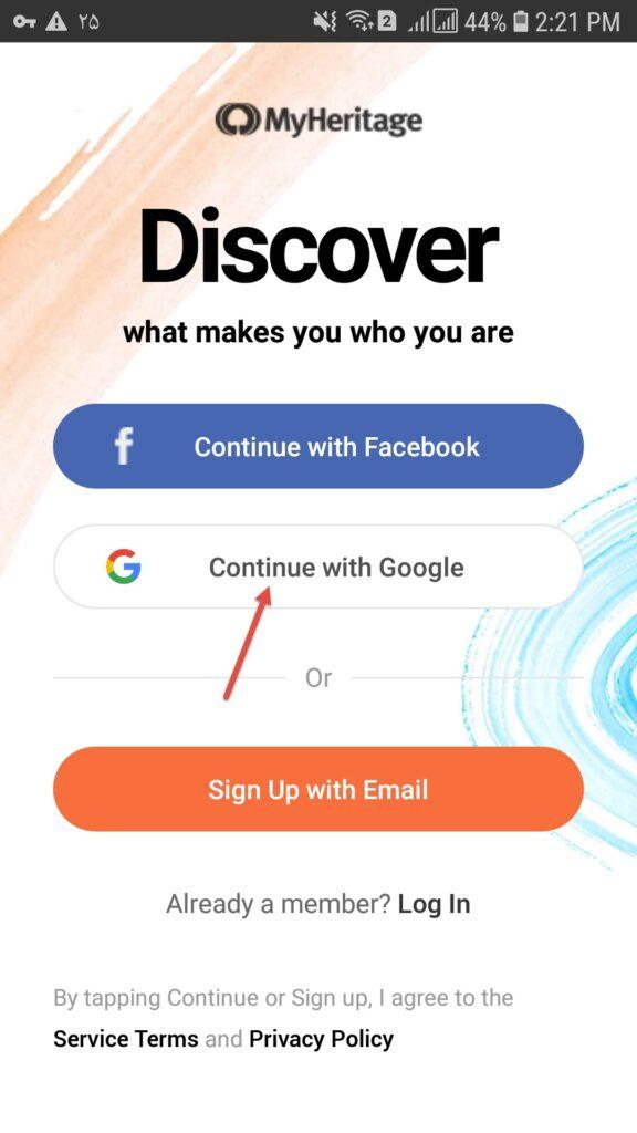 ثبت نام در برنامه MyHeritage از طریق اکانت گوگل