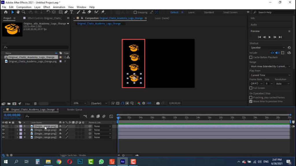 کپی کردن لوگو در صفحه کاری جهت طراحی موشن گرافیک